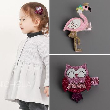 Fashion Cute Cartoon Flamingo And owl Baby Hairpins kids Hair Clips Children Headwear Princess Barrette Girls Hair Accessories