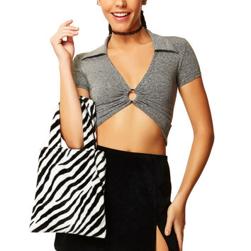 Ringleader Gray Cotton Crop Top