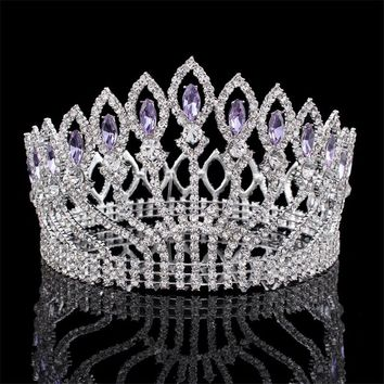 New Luxury Sparkling Crystal Baroque Queen King Wedding Tiara