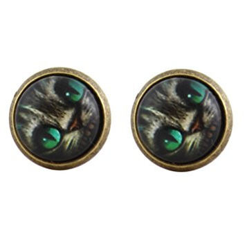 Cheshire Cat Grin Stud Earrings Gold Tone EM26 Alice in Wonderland Art Posts Fashion Jewelry