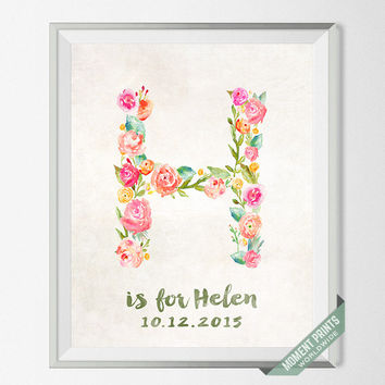 Personalized, Print, Helen, Custom Name, Nursery Art, Hope, Heather, Holly, Harper, Helena, Hanah, Gift, H, Baby, Initial, Girl [NO 112]