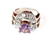 Purple Rhinestone Ring Size 6 half Vintage Cocktail Ring