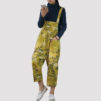 Japanese Style Rompers Print Floral Cotton Jumpsuit Plus Size Loose Suspenders Trousers Women Bib Pants Capri Casual Dungarees