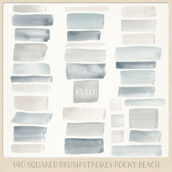 Watercolor clipart strokes squared (140 pc) natural beige, sand, gray. hand painted overlays for logo design blogs cards printables wall art