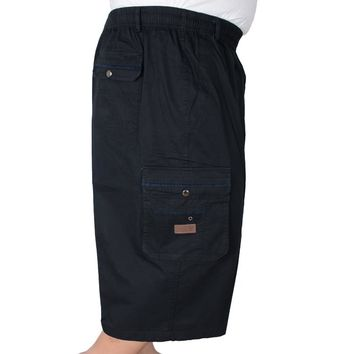 HOT2018 Outdoor Men's cotton summer middle-aged old people's congress cargo Jogging loose waist deep fat shorts plus size 4XL