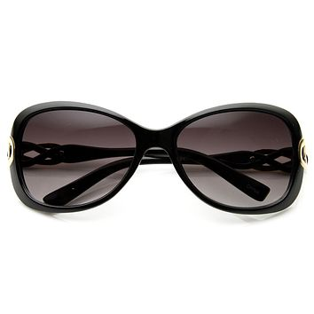 Womens Designer Fashion Metal Bow Cut Oval Sunglasses 8915