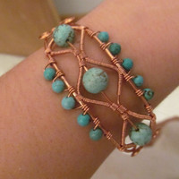 Natural Turquoise Copper Wire Cuff Bracelet- Light Blue Stone Beaded Wire Wrap Bangle- Handmade Jewelry