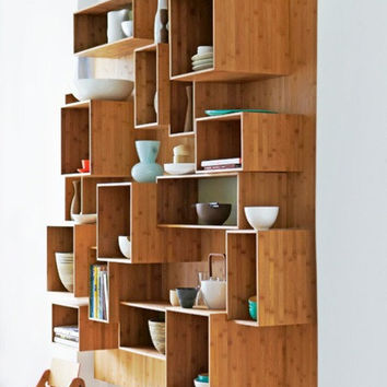 Re-creation wood crate case modern kitchen cabinets stackable modular unit tiered open shelf storage bookshelf stacked organization display