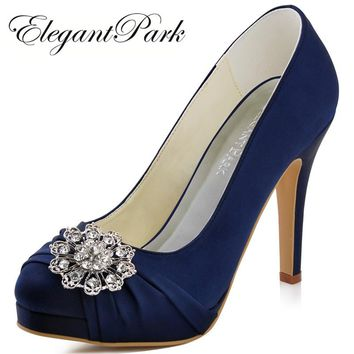 Woman Navy Blue Red High Heel Platform Wedding Shoes Rhinestone Satin Bride  Lady Prom Party Bridal 0fd0eec278