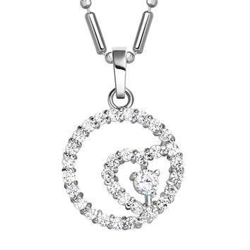 Eternity Powers Heart Circle MedalliSilver-Tone Love Energy Amulet White Crystals Necklace