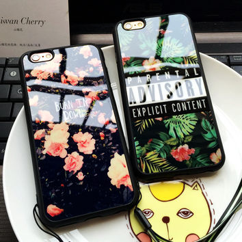 ADVISORY Parental Flowers Cases For Iphone 7 Case For iPhone 7 6 6s Plus 5 5S Soft Silicone Mirror Back Cover Capa Fundas Coque