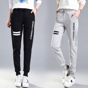 Women Sport Casual Letter Print Loose Small Foot Leisure Pants Sweatpants Trousers