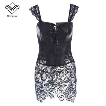 Wechery Corsage Steampunk Leather Corset Dress Sexy Corsets and Bustiers with Zipper PVC Gothic Bustier Plus Size Modeling Strap
