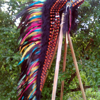 EXTRA LONG Colorful Warbonnet, Native American Headdress, Indian Headdress, Native American Clothing, Edc, Rave outfit, Warriors hat