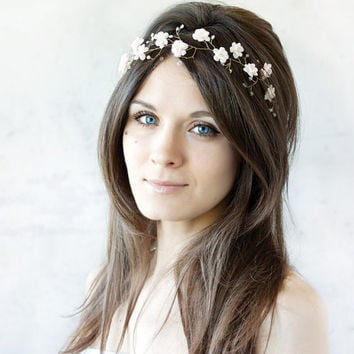 Bridal tiara, wedding tiara, wedding flower crown, Blush tiara, headpiece, headband, bridal hair accessories, pearls, Gold Hair Wreaths