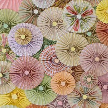 PINWHEEL ROSETTES MINT PINK CREAM YELLOW CORAL FLORAL SPRING MIX BACKDROP - 8x10 - LCPC3593 - LAST CALL
