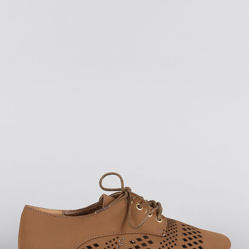 Bamboo Perforated Round Toe Lace Up Oxford Flat