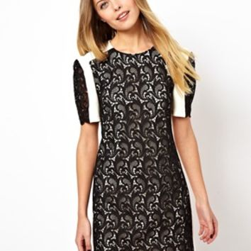 ASOS Premium Mini Shift Dress With Contrast Lace - Cream