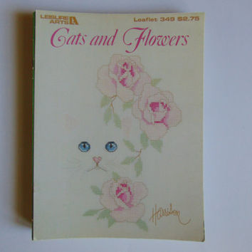 Cats and Flowers Cross Stitch Leisure Arts #349 -1985