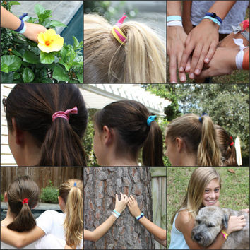 Colorful Hair Elastics by Preppy Pieces - 11 Ribbon Ties - Pretty FOE Hair Ties - Soft Stretchy Hair Bands - Rainbow Pony Tail Holders