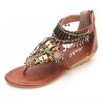MagicPieces Women's Beaded Toe Post Wedge Sandal 041833 CDP 0705 Color Brown US 5.5