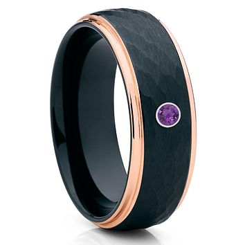Amethyst Wedding Band - Black Wedding Ring - Tungsten Wedding Band - 8mm