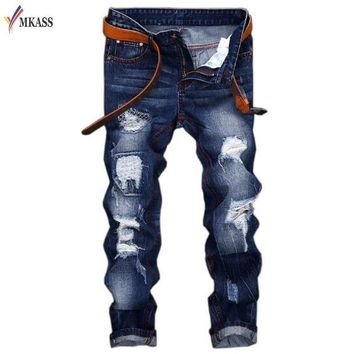 MKASS Men's Blue Black Pleated Hole Ripped Biker Jeans For Motorcycle Casual Slim Skinny Distressed Stretch Denim Pants