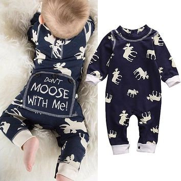 Baby Girl Boy Long Sleeve Romper Jumpsuit Pajamas XMAS Clothing Warm Outfits Cute Toddler Infant Xmas Clothes