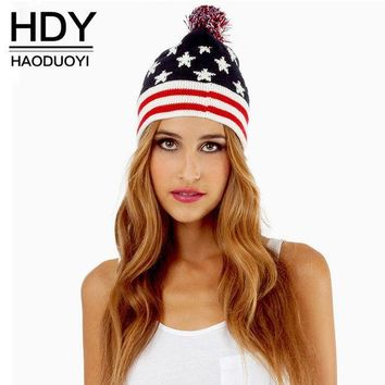 CREYL HDY Haoduoyi 2016 Autumn Women Fashion Wool Ball No brim  Red Blue National Flag Knitted Hat Classic Sweet Lovely Top Cap