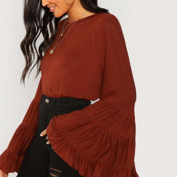 Jbellan Tiered Bell Sleeve Solid Blouse