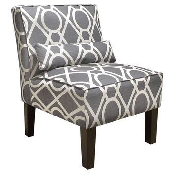 Bergman Armless Chair, Gray/White, Accent & Occasional Chairs