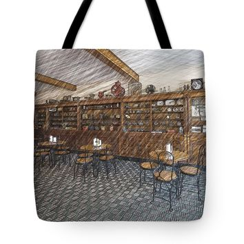 """Drug Store and Petro Pharmacy Tote Bag for Sale by Liane Wright (18"""" x 18"""")"""