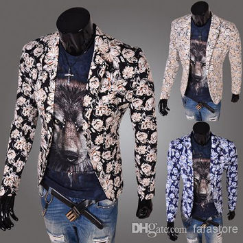 2014 Hipster necessary men Printing design blazer coats men tight suits mens blazer man jacket 3 color