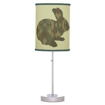 Camouflage Silhouette Easter Bunny Desk Lamp