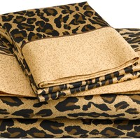 Regal Collection 300 Thread-Count Leopard Print Full Sheet Set, Brown