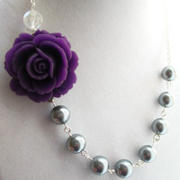 Bridesmaid Necklace Amethyst Purple Rose Flower by PrettyNecklaces