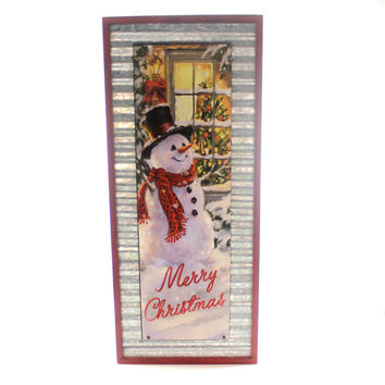 Christmas VINTAGE SNOWMAN WALL HANGING Metal Christmas 1515273 Merry