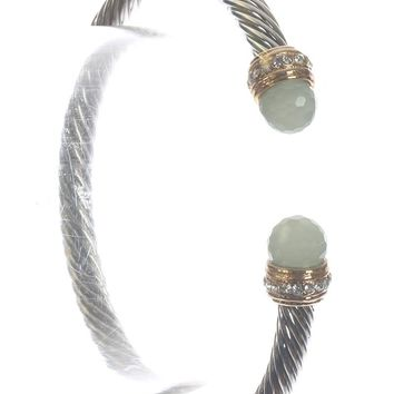 Turquoise Bendable Twisted Metal Glass Stone Cuff Bracelet