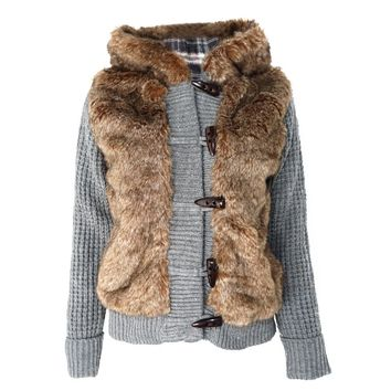 Women's Faux Fur Hooded Gray Knit Coat with Check Lining