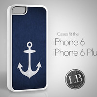 PRE-ORDER - iPhone 6 Case - Nautical Navy Blue and White Anchor Design - iPhone 6 / 6 Plus Cover IP6