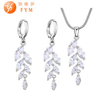 Luxury Swing Jewelry Sets Trendy Women's Silver Rose Gold Color Cubic Zircon Romantic Earrings Necklace Jewelry Sets for Women