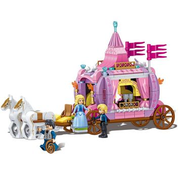 Cinderella Princess Royal Carriage Building Blocks Princess Figures Legoings Friends Blocks Bricks Model Toys Girls Gift