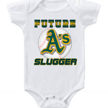 New Cute Funny Baby One Piece Bodysuit Baseball Future Slugger MLB Oakland A's #3