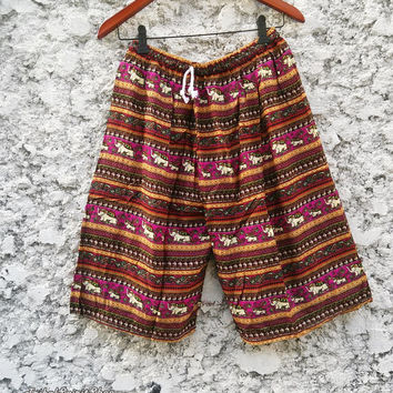 Large to XL Unisex Men Women Boho Hippie elephant print Beach Summer Shorts Hobo Clothing Aztec Ethnic Styles Ikat Hipster 24inch length