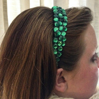 Green Sparkle Rhinestone Cluster Headband for St. Patrick's Day