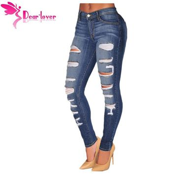 Dear Lover Fashion Stretch Blue Denim Destroyed Whisker Wash Skinny Distressed Jeans Women Ripped Pants Calca Feminina LC78648