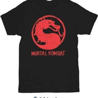 Mortal Kombat Classic Distressed Logo Black Adult T-shirt  - Mortal Kombat - Free Shipping on orders over $60 | TV Store Online