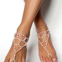 Barefoot Sandals in White and Peach