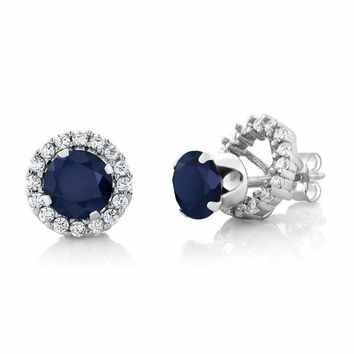 2CTW Genuine Sapphire 925 Sterling Silver Stud With Removable Halo Jacket IOBI Precious Gems Earrings