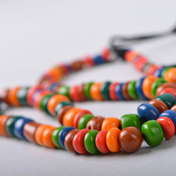 Handmade colorful porcelain necklace Costume jewelry Design accessory Gift ideas